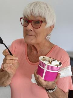 Sandy Eating Ice Cream